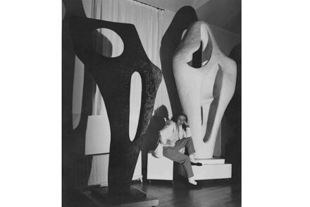 Barbara Hepworth with the Gift plaster of Figure for Landscape and a bronze cast of Figure (Archaean) November 1964. Photograph: Lucien Myers. Barbara Hepworth © Bowness.