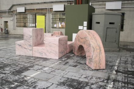 """Andreas Angelidakis: """"Post-Ruin (Pink)"""", foam and vinyl seating modules that visitors can rearrange. """"The ruins highlight the ineluctable fact that nothing lasts forever. Viewers are called upon never to cease championing democracy."""""""