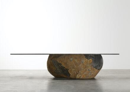 Wonmin PARK: Plain Cuts, Stone & Steel, Low Table.