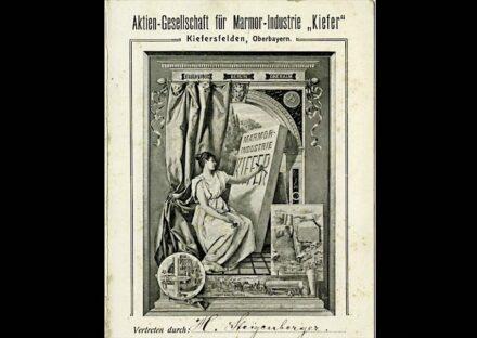 Screenshot mit dem Werbeprospekt der Aktien-Gesellschaft für Marmor-Industrie Kiefer Kiefersfelden aus dem Jahr 1910.