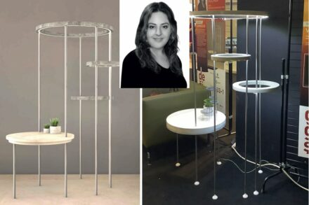 "Canan Hande Göçmen, Gökmer Mermer: company ""Luminous"" combines a side table with rings of light."