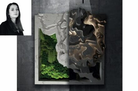 """Nilüfer Taşkin, Șenler Marble company: a planting area """"Izohips"""" recreating the landscape around Afyonkarahisar in marble and onyx."""