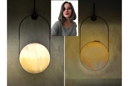 """Winner Elif Bozkurt, Company Alpay Mermer: lamp """"Day and Night"""" made of beige Onyx with a foil on the back. When the lamp is turned, the light changes."""