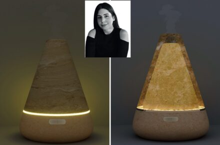 "Winner Esra Yücetürk, Company Alimoğlu Marble (Izmir): ""Vopa"", Source for light and fragrance."