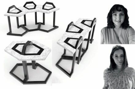 "Prize for Cooperation: Ezgi Deringöl (above), Irem Ezgi Türkdoğan, Kömürcüoğlu Mermer company: ""Line"", modular seats made of stone and steel."