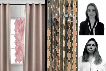 """Prize for Cooperation, special prize from the EIB: Irem Aydin, Sude Sila Iltaş, Silkar Stone company: """"Ambiyans"""" is a curtain with elements, each one made of two thin stone pieces giving a sound when hitting each other."""