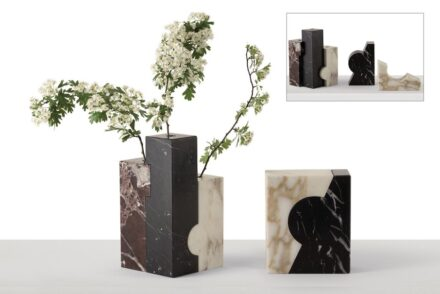 """""""Harrìa"""" vases and bookends by Viviana Maggiolini & Giorgio Bonaguro for <a href=""""https://www.giorgettimeda.com/""""target=""""_blank"""">Giorgetti</a> company."""