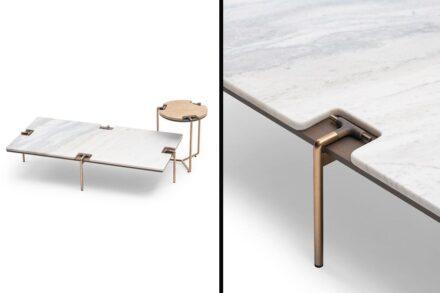 "Side tables ""Blues Coffee"" by Giuseppe Viganò for <a href=""https://turri.it/en/""target=""_blank"">Turri </a>company."