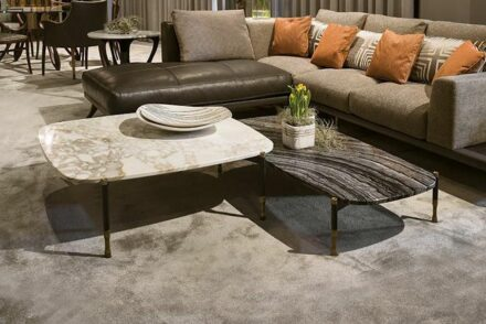 """Coffee tables """"Patagonia"""" from <a href=""""https://www.bellotti.it/""""target=""""_blank"""">Bellotti Ezio</a> company."""